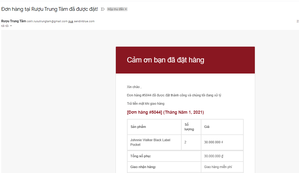 email xác nhận đơn hàng